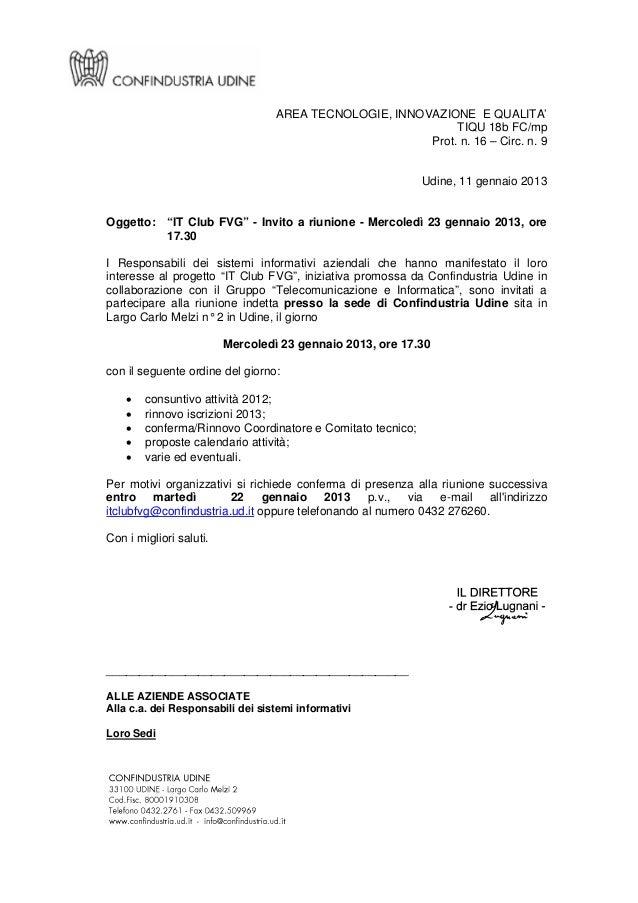 Riunione IT CLUB FVG gennaio 2013