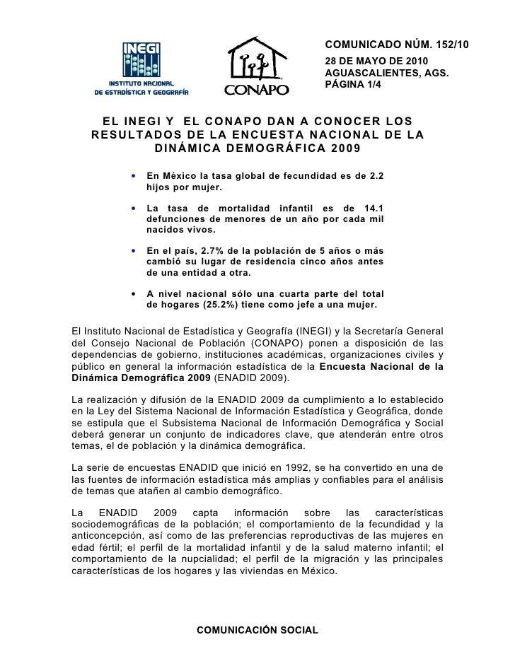 COMUNICADO NÚM. 152/10                                                         28 DE MAYO DE 2010                         ...