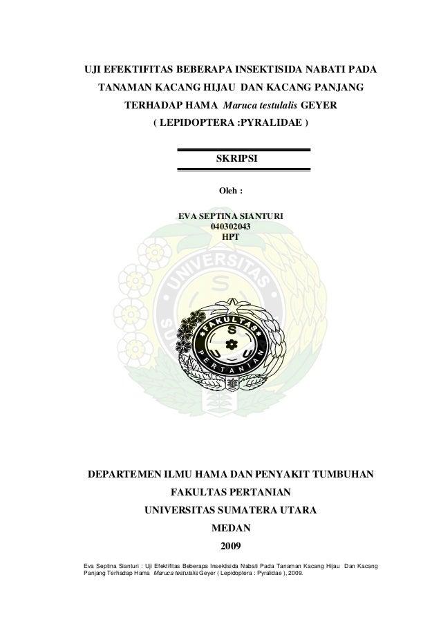 UJI EFEKTIFITAS BEBERAPA INSEKTISIDA NABATI PADA TANAMAN KACANG HIJAU DAN KACANG PANJANG TERHADAP HAMA Maruca testulalis G...