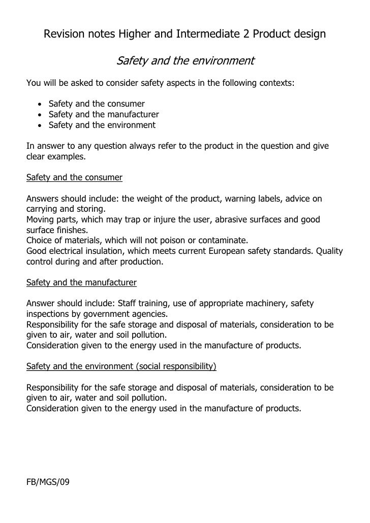 Revision notes Higher and Intermediate 2 Product design                         Safety and the environment You will be ask...