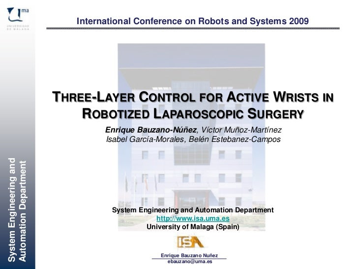 International Conference on Robots and Systems 2009                         THREE-LAYER CONTROL FOR ACTIVE WRISTS IN      ...