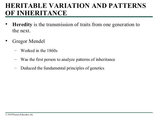 © 2010 Pearson Education, Inc. • Heredity is the transmission of traits from one generation to the next. • Gregor Mendel –...
