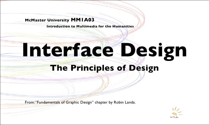 McMaster University      MM1A03             Introduction to Multimedia for the Humanities     Interface Design            ...