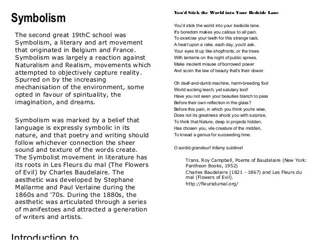 the use of realism naturalism and symbolism by charles baudelaire and paul verlaine Transcript of against realism: symbolism and the rise of the avant garde by charles baudelaire pioneers & methods realism.