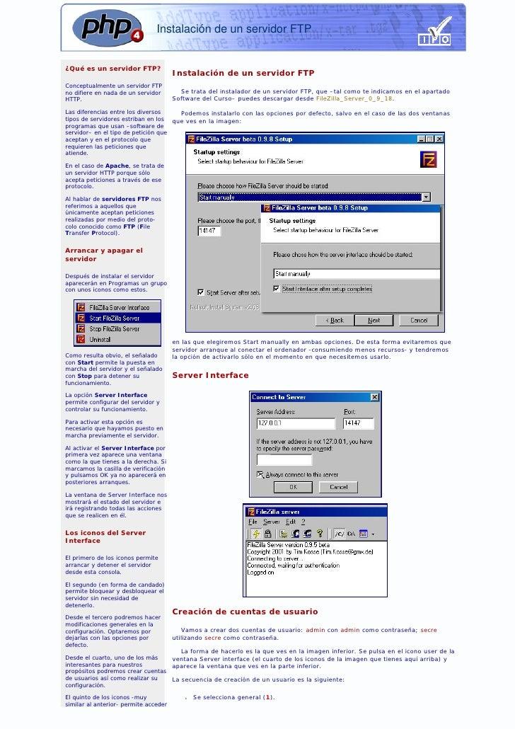 Instalación de un servidor FTP   ¿Qué es un servidor FTP?                                        Instalación de un servido...