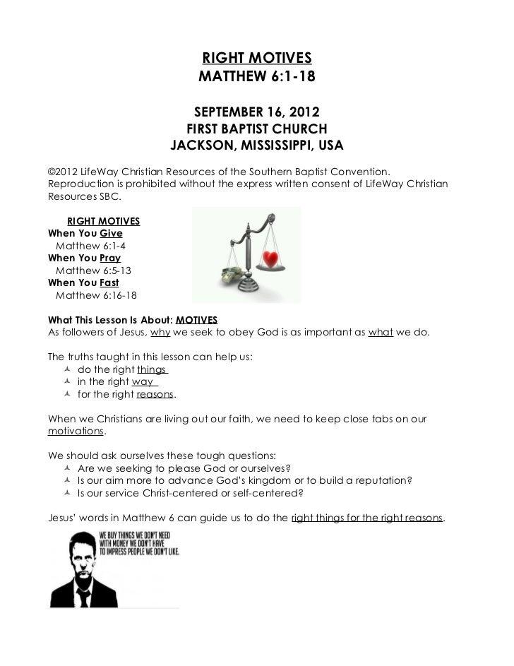 09 September 16, 2012 Matthew 6;1 18 Right Motives
