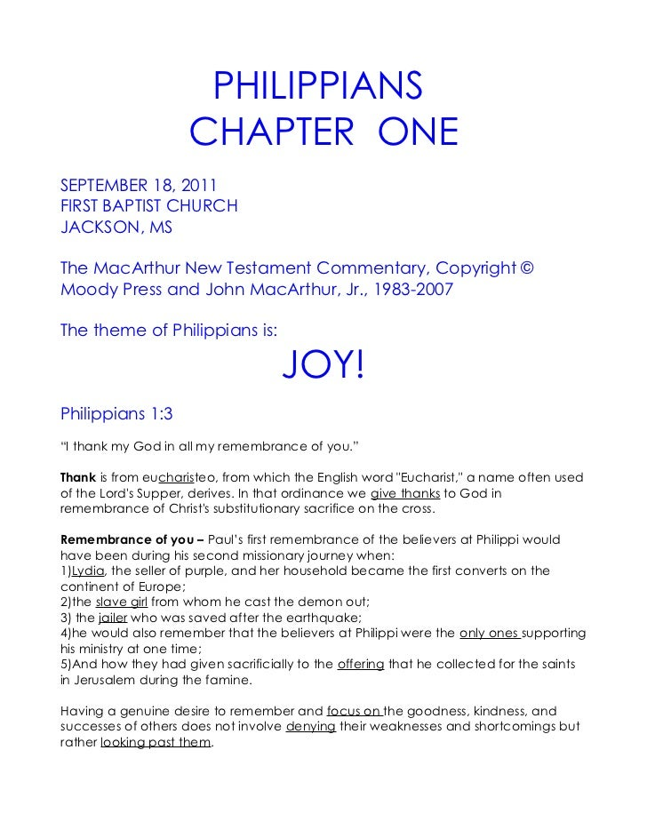 09 September 18, 2011 Philippians, Chapter One