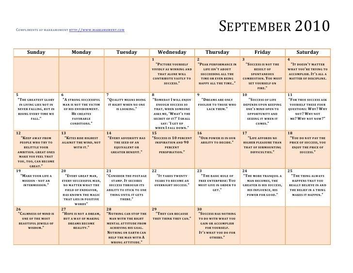 Printable Monthly Calendar September 2010