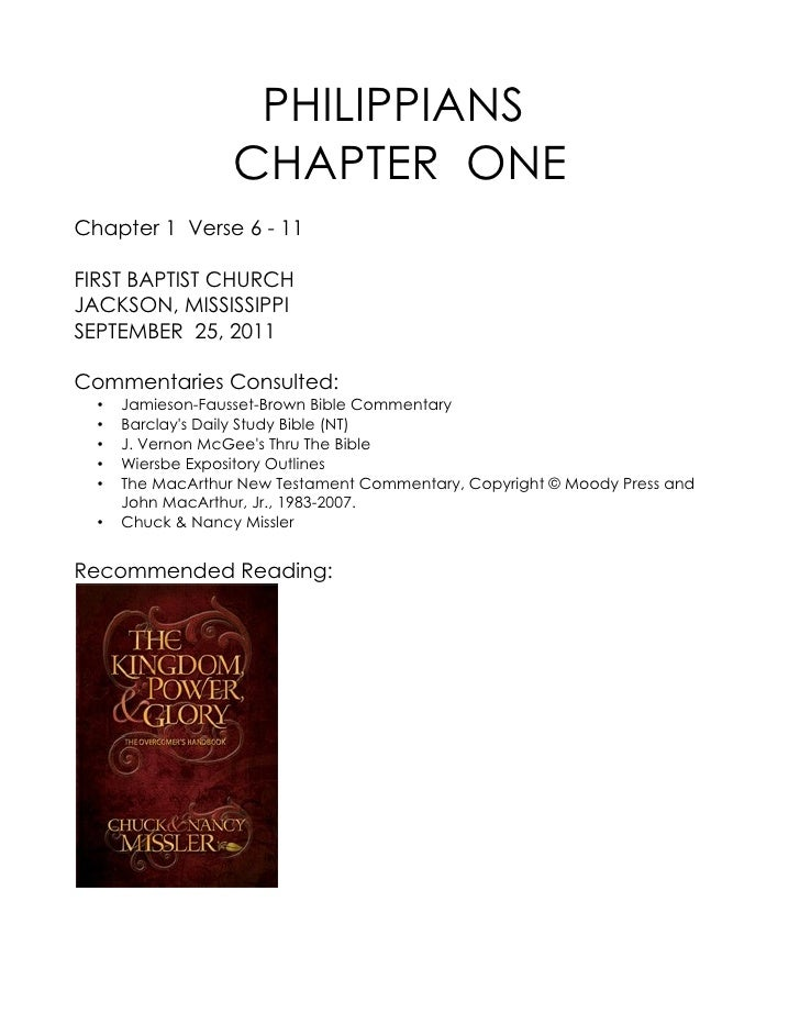 09 September 25, 2011 Philippians, Chapter One