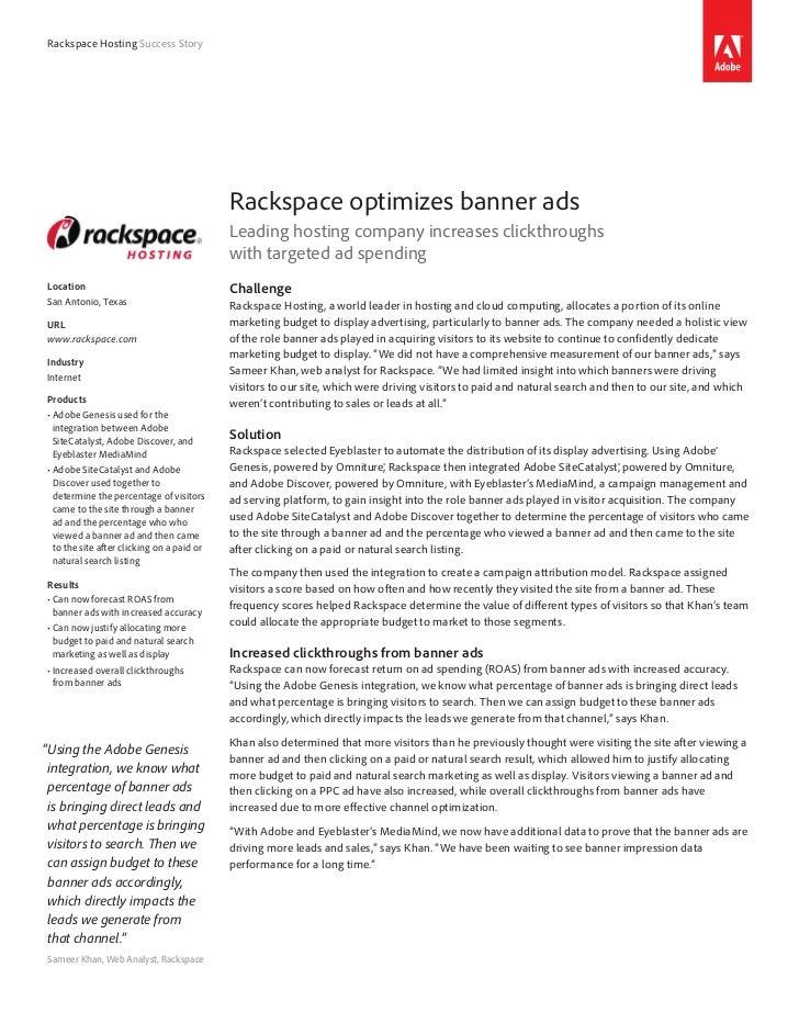 Rackspace Hosting Success Story                                            Rackspace optimizes banner ads                 ...