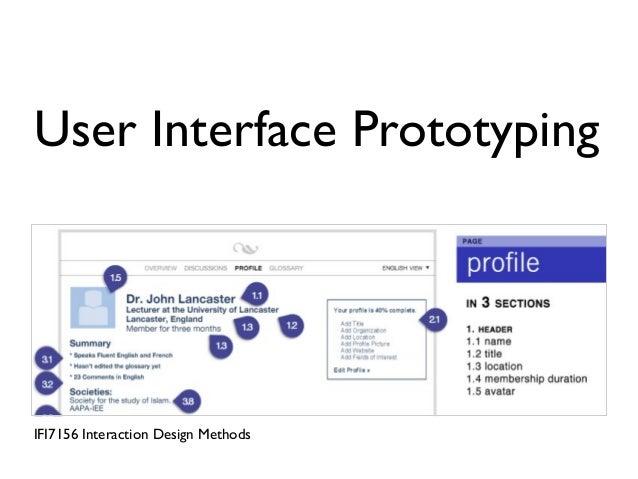User Interface Prototyping IFI7156 Interaction Design Methods