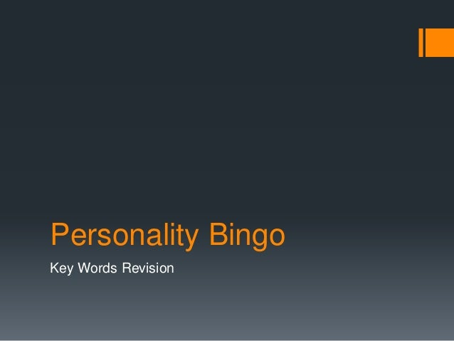 Personality Bingo Key Words Revision
