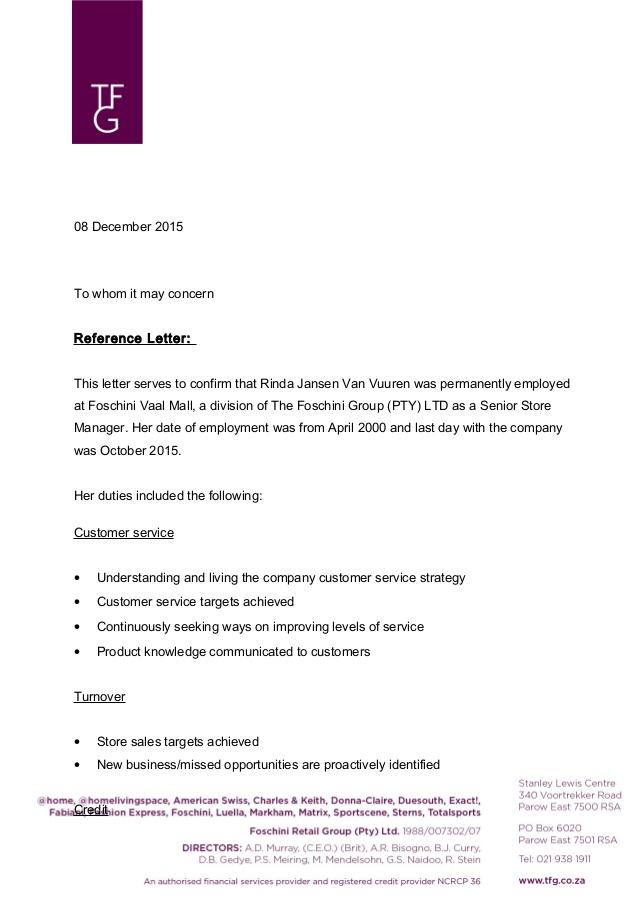 Notes For Employment Verification Letter