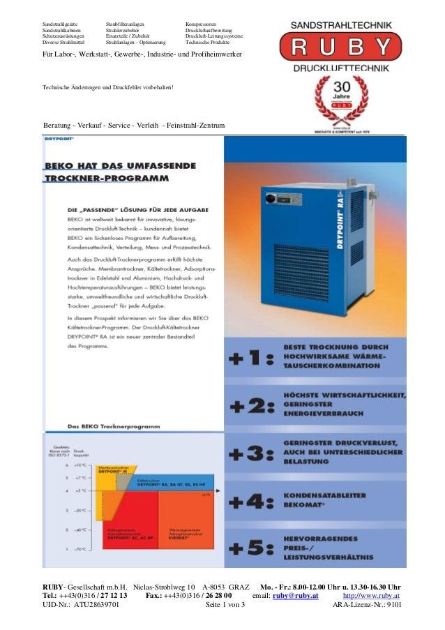 Sandstrahlgeräte        Staubfilteranlagen            KompressorenSandstrahlkabinen       Strahlerzubehör               Dr...