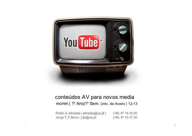 conteúdos AV para novos media      mcmm | 1º Ano|1º Sem. Univ. de Aveiro | 12-13      Pedro A. Almeida | almeida@ua.pt |  ...