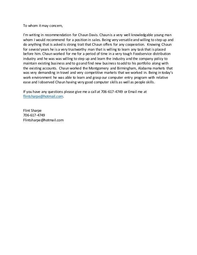 reference letter chaun davis