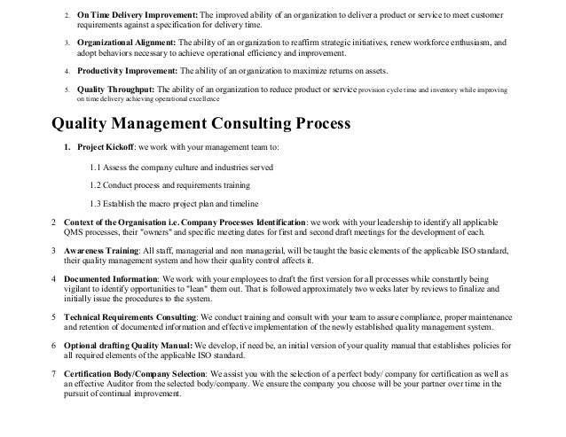 ISO standards Quality Assurance Consultancy resume