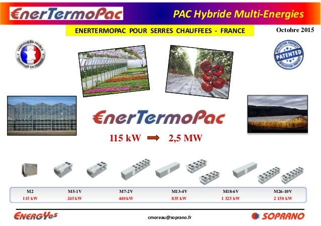 PACHybrideMulti‐Energies ENERTERMOPACPOURSERRESCHAUFFEES‐ FRANCE cmoreau@soprano.fr Octobre 2015 2,5 MW115 kW M...
