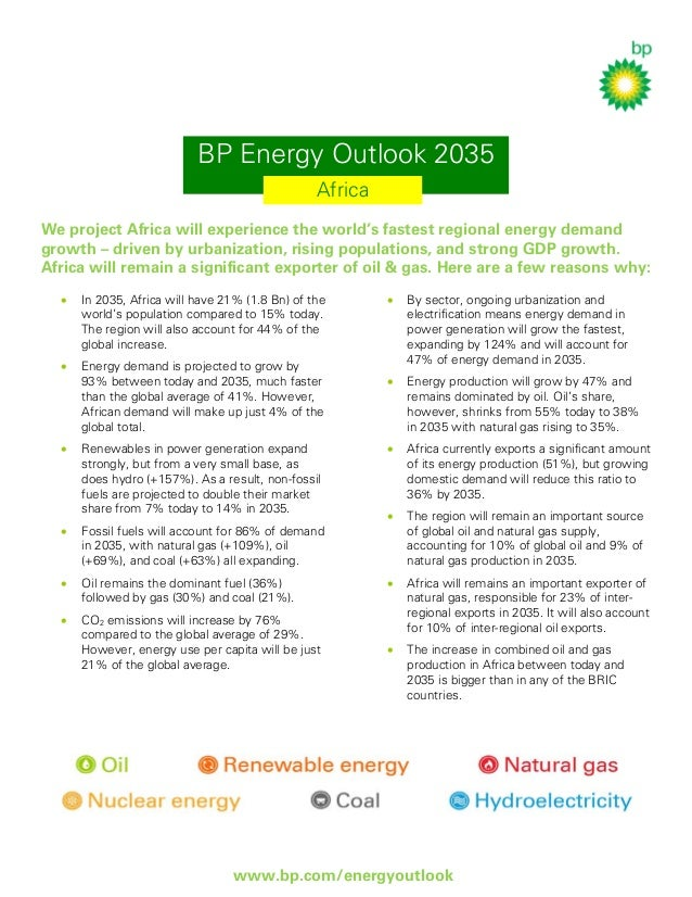 BP Energy Outlook 2035 Africa We project Africa will experience the world's fastest regional energy demand growth – driven...