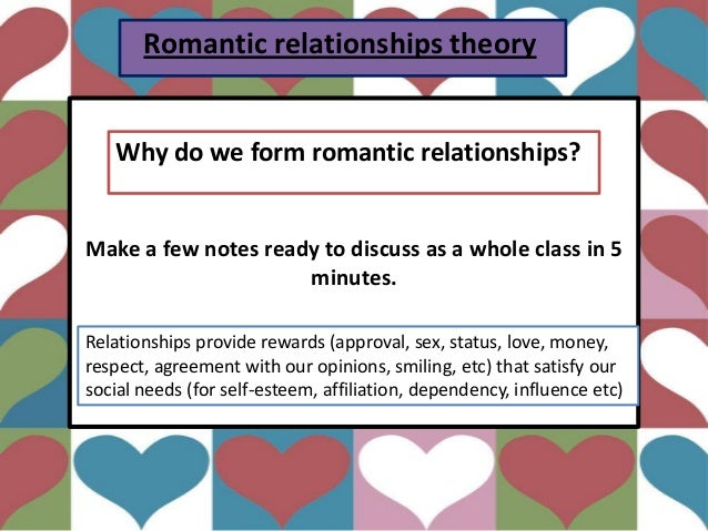 Romantic relationships theory Make a few notes ready to discuss as a whole class in 5 minutes. Why do we form romantic rel...