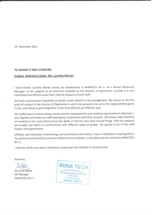 hr manager mona al abbas recommendation letter