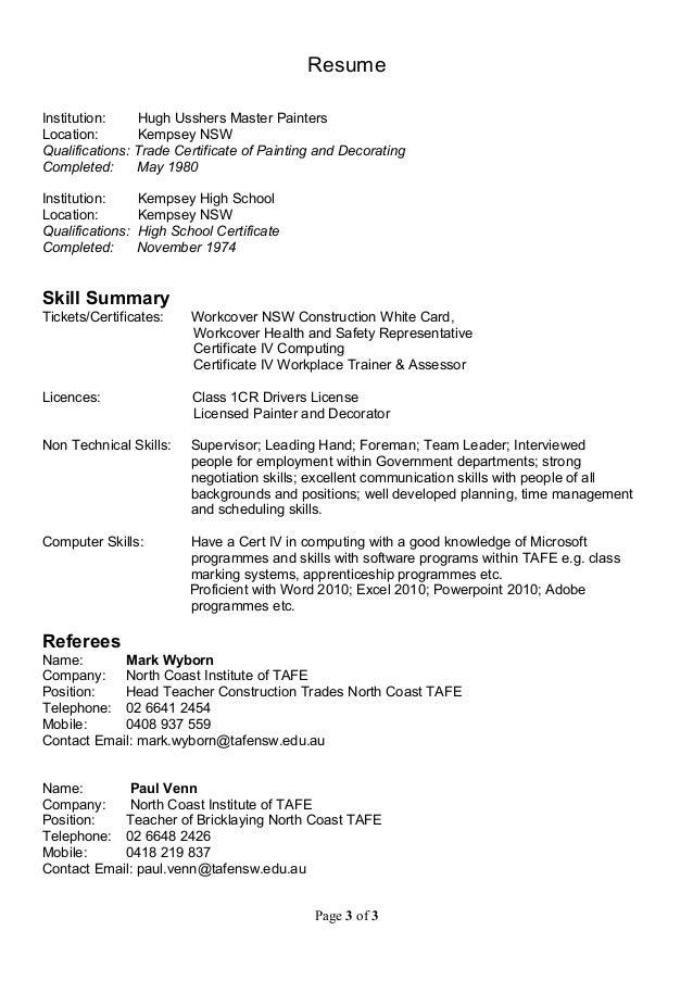 Painter Resume Resumes Sample Resume Resume Template Zrom