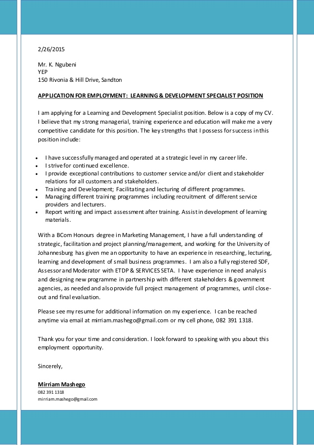 covering letter  u0026 cv for learning  u0026 development specialist