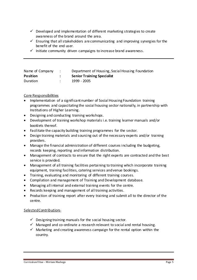 Covering letter for curriculum vitae