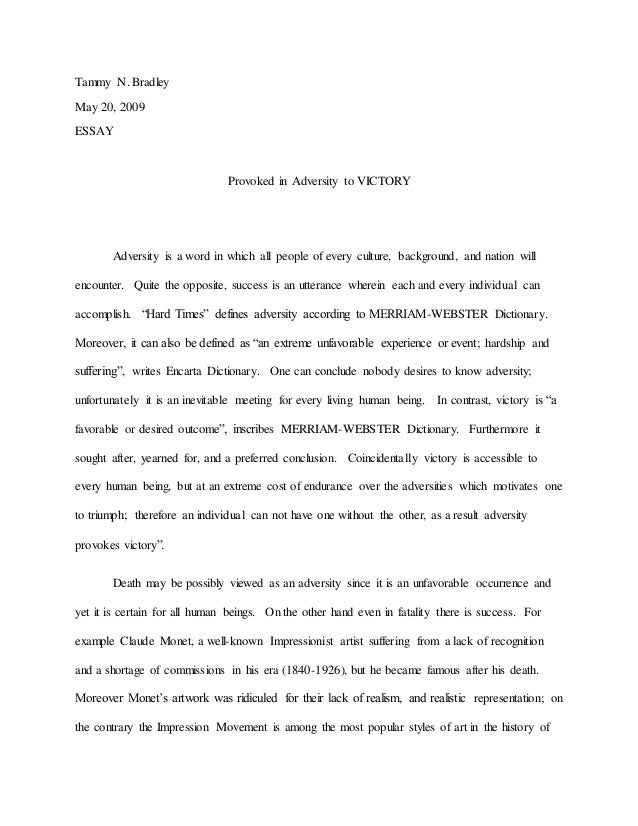 Overcoming Adversity Essay  Example Thesis Statement Essay also Good Synthesis Essay Topics Thesis Examples In Essays