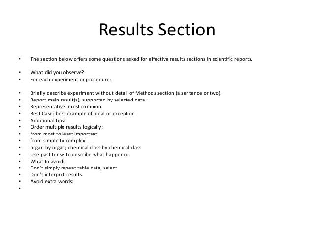 Results Section Of A Research Paper