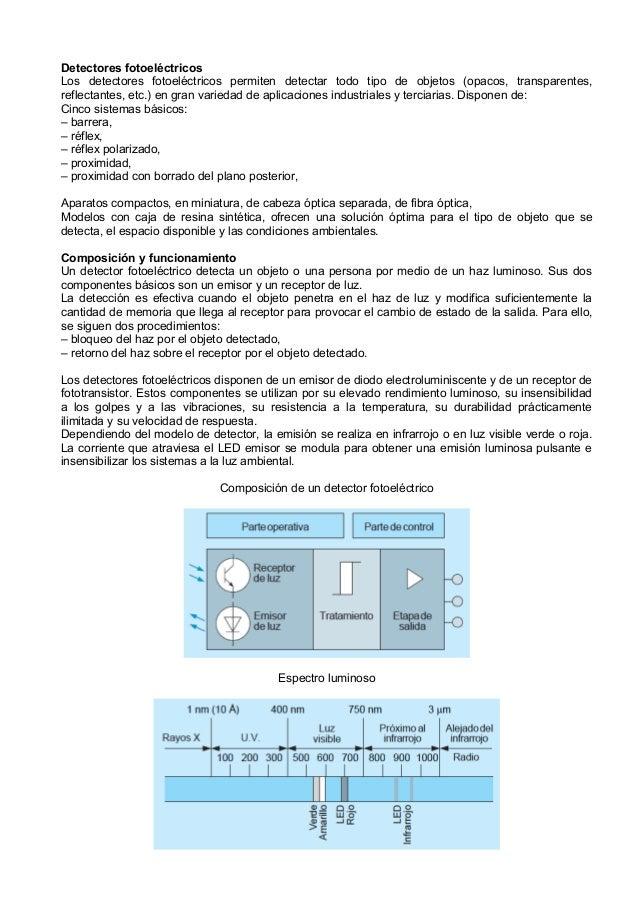 Detectores fotoeléctricosLos detectores fotoeléctricos permiten detectar todo tipo de objetos (opacos, transparentes,refle...