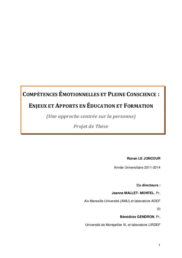 COMPÉTENCES ÉMOTIONNELLES ET PLEINE CONSCIENCE :  ENJEUX ET APPORTS EN ÉDUCATION ET FORMATION        (Une approche centrée...