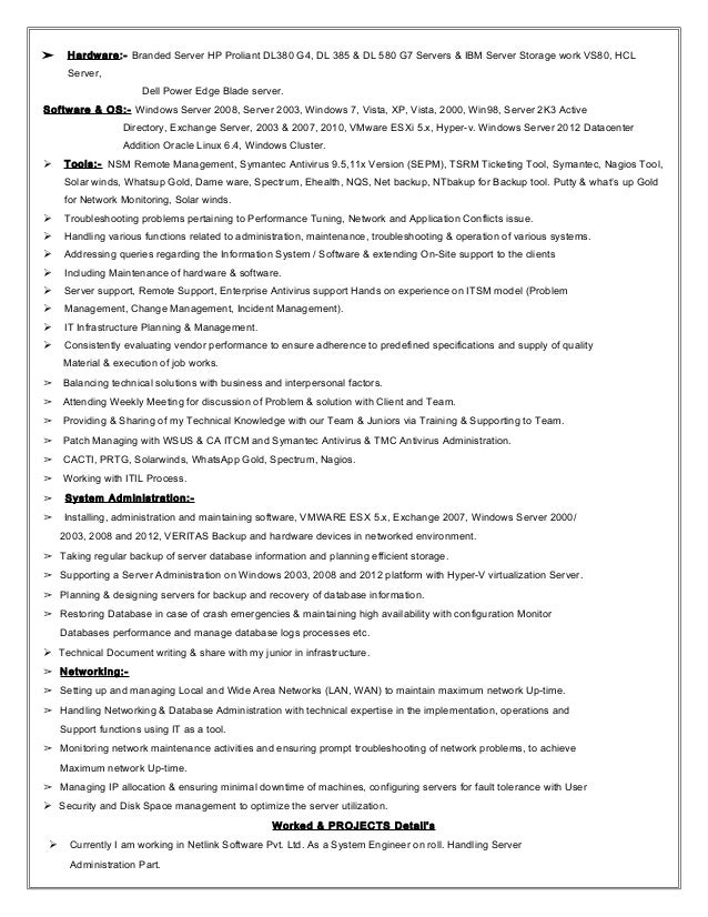Exchange server admininstrator sample resume