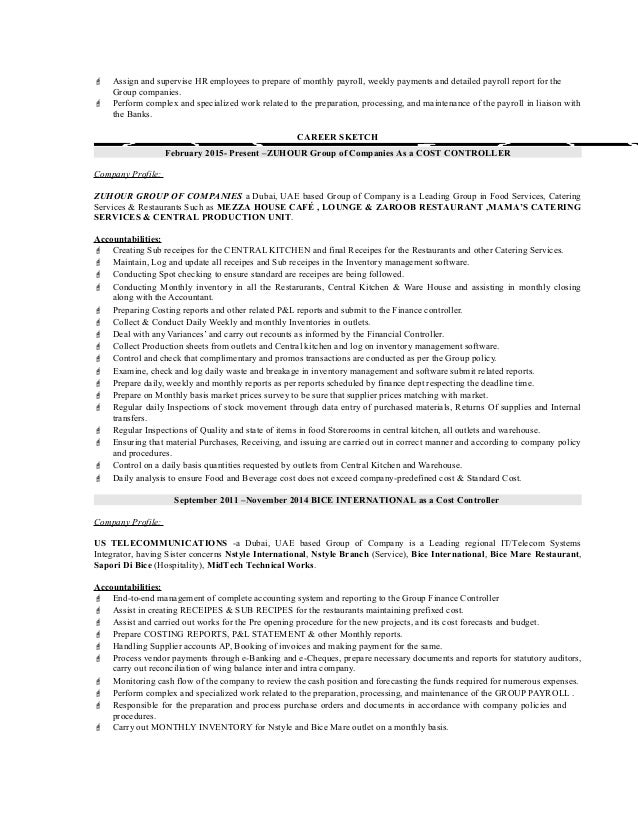 Controller Resume Example - Template