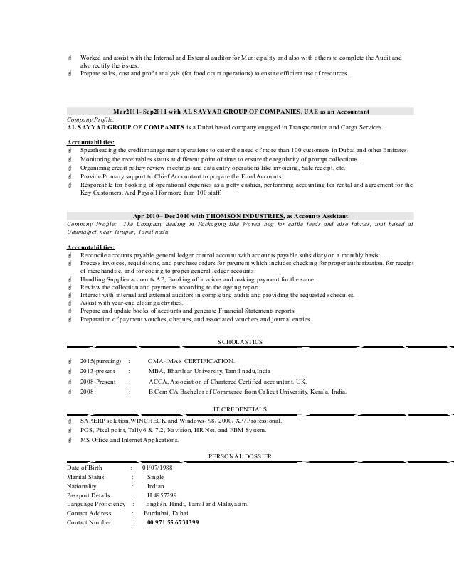 cost controller resume binto ouseph