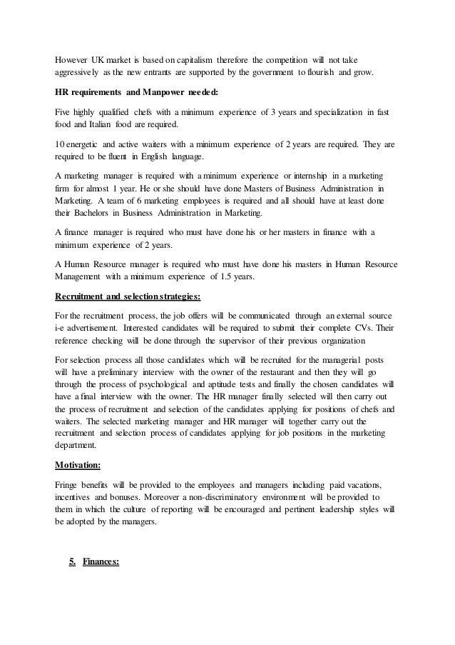 Restaurant business plan uk