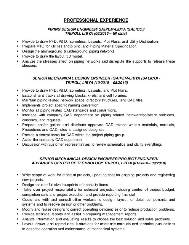 Piping Layout Engineer Resume - Today Wiring Schematic Diagram