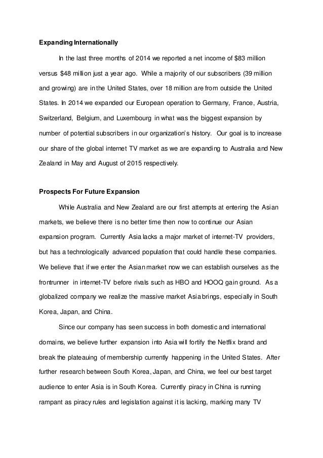 expanding business globally essay Essay about business economics: expanding a business globally when a person does something that benefits them, they are doing it in self-interest, when it benefits society it is a social interest.