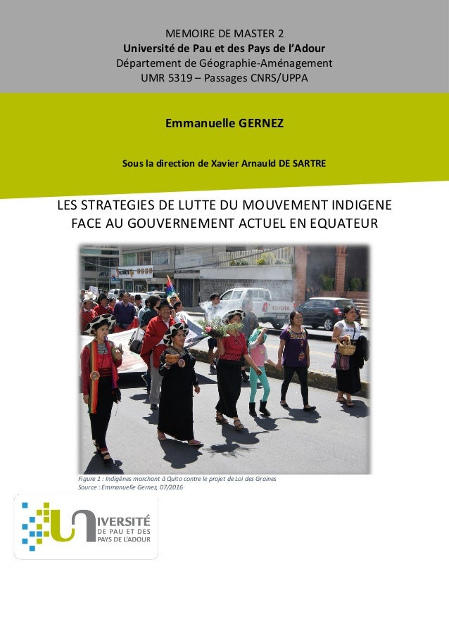 MEMOIRE DE MASTER 2 Université de Pau et des Pays de l'Adour Département de Géographie-Aménagement UMR 5319 – Passages CNR...