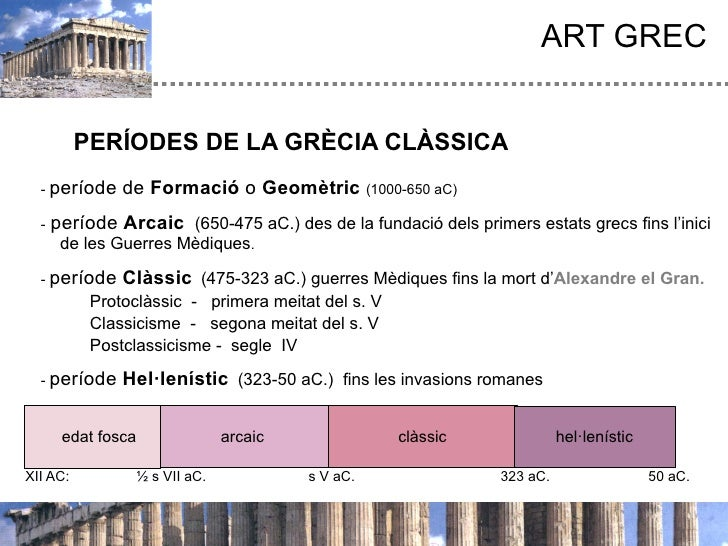 ART GREC          PERÍODES DE LA GRÈCIA CLÀSSICA  - període    de Formació o Geomètric (1000-650 aC)  -   període Arcaic (...