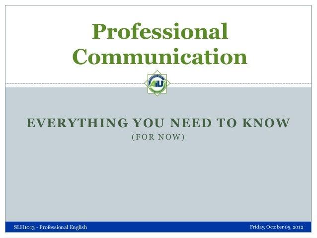 Elements of Professional Communication