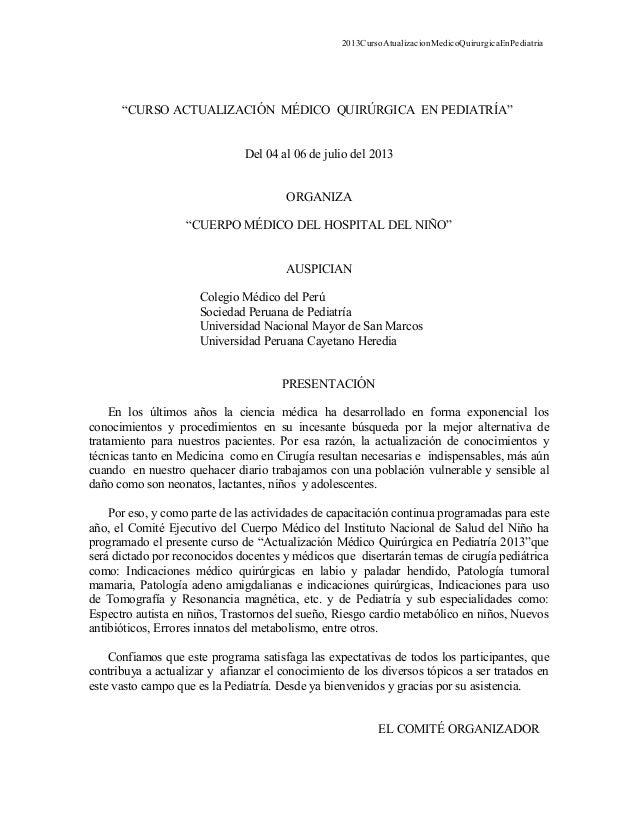 """2013CursoAtualizacionMedicoQuirurgicaEnPediatria""""CURSO ACTUALIZACIÓN MÉDICO QUIRÚRGICA EN PEDIATRÍA""""Del 04 al 06 de julio ..."""