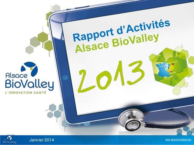 Rapport d'activité 2013 Alsace BioValley