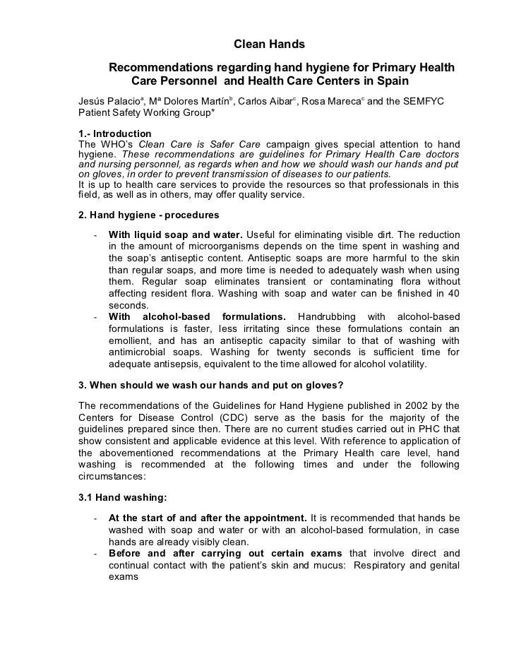 Clean Hands       Recommendations regarding hand hygiene for Primary Health          Care Personnel and Health Care Center...