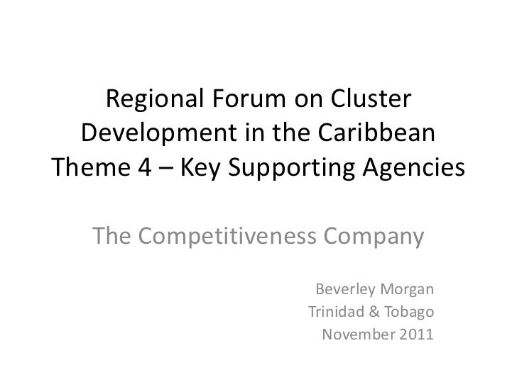 Regional Forum on Cluster  Development in the CaribbeanTheme 4 – Key Supporting Agencies   The Competitiveness Company    ...