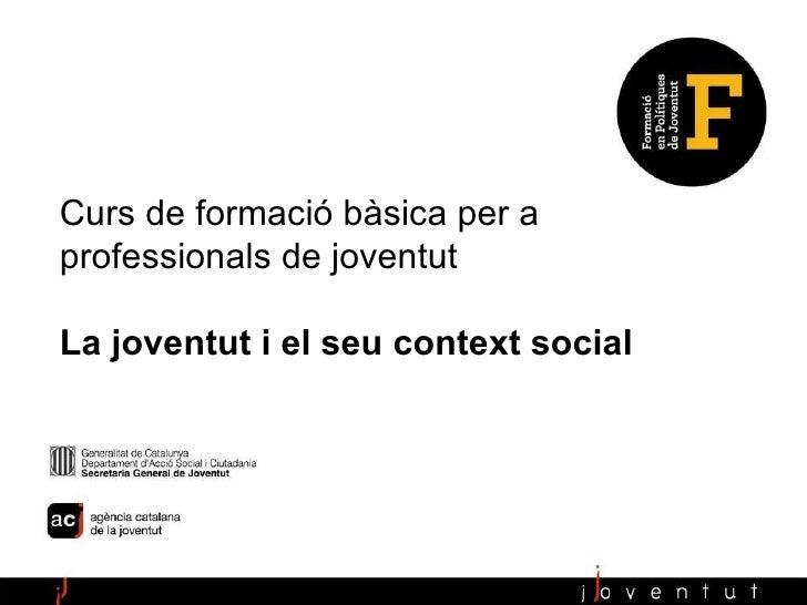 Anàlisi sociològica i polítiques de joventut Pau Serracant Curs de formació bàsica per a professionals de joventut La jove...