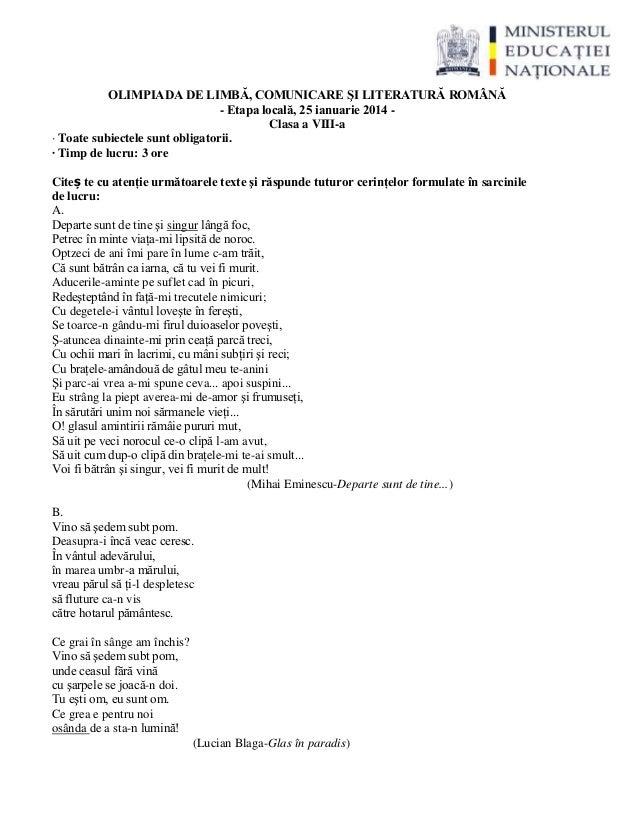 OLIMPIADA DE LIMBĂ, COMUNICARE ŞI LITERATURĂ ROMÂNĂ - Etapa locală, 25 ianuarie 2014 - Clasa a VIII-a · Toate subiectele s...
