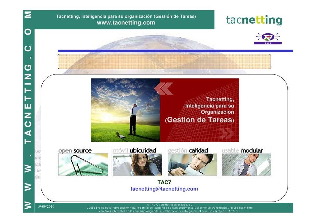 M                               Tacnetting, inteligencia para su organización (Gestión de Tareas)                         ...