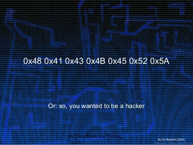 All Your Base Are Belong To Us 0x48 0x41 0x43 0x4B 0x45 0x52 0x5A Or: so, you wanted to be a hacker By Gil Megidish (2004)