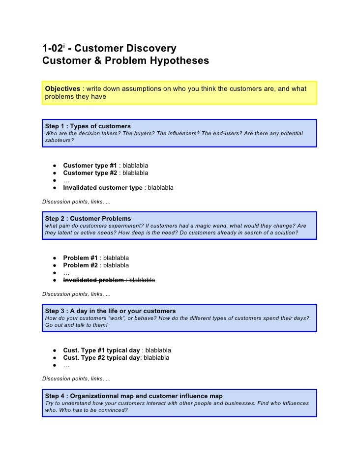 1 02 - customer discovery - customer & problem hypotheses